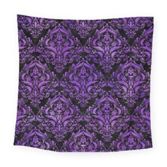 Damask1 Black Marble & Purple Watercolor (r) Square Tapestry (large) by trendistuff
