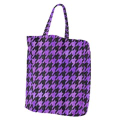 Houndstooth1 Black Marble & Purple Watercolor Giant Grocery Zipper Tote by trendistuff