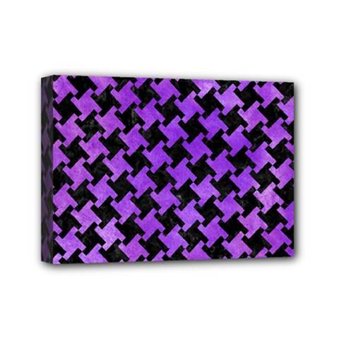 Houndstooth2 Black Marble & Purple Watercolor Mini Canvas 7  X 5  by trendistuff