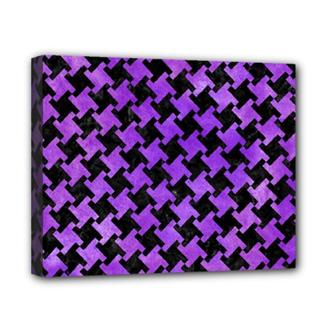 Houndstooth2 Black Marble & Purple Watercolor Canvas 10  X 8  by trendistuff