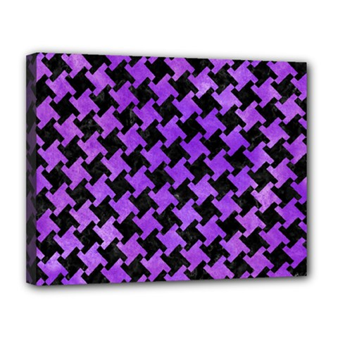 Houndstooth2 Black Marble & Purple Watercolor Canvas 14  X 11  by trendistuff