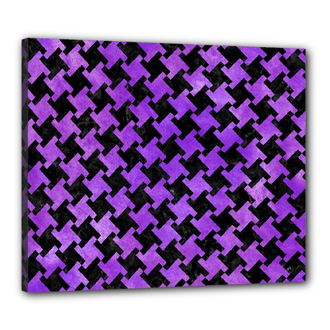 Houndstooth2 Black Marble & Purple Watercolor Canvas 24  X 20  by trendistuff