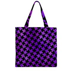 Houndstooth2 Black Marble & Purple Watercolor Zipper Grocery Tote Bag