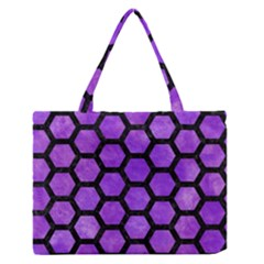 Hexagon2 Black Marble & Purple Watercolor Zipper Medium Tote Bag by trendistuff