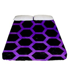Hexagon2 Black Marble & Purple Watercolor (r) Fitted Sheet (queen Size) by trendistuff