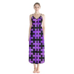 Puzzle1 Black Marble & Purple Watercolor Button Up Chiffon Maxi Dress