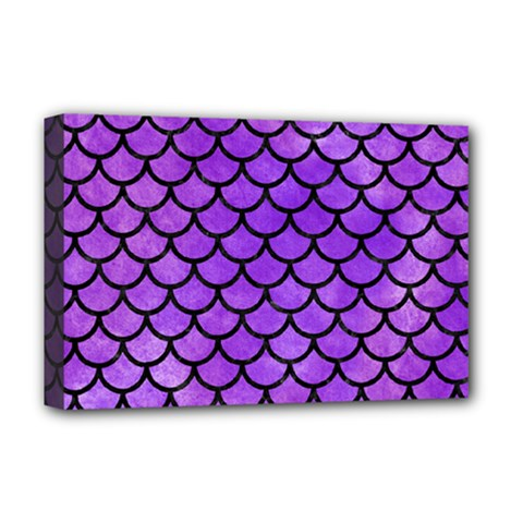 Scales1 Black Marble & Purple Watercolor Deluxe Canvas 18  X 12   by trendistuff
