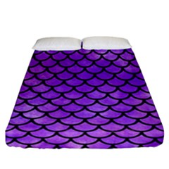 Scales1 Black Marble & Purple Watercolor Fitted Sheet (california King Size) by trendistuff