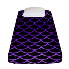 Scales1 Black Marble & Purple Watercolor (r) Fitted Sheet (single Size) by trendistuff