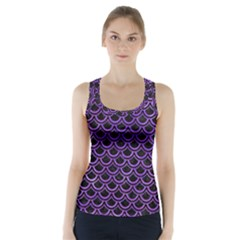 Scales2 Black Marble & Purple Watercolor (r) Racer Back Sports Top
