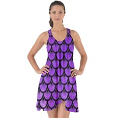 Scales3 Black Marble & Purple Watercolor Show Some Back Chiffon Dress by trendistuff