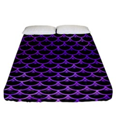 Scales3 Black Marble & Purple Watercolor (r) Fitted Sheet (california King Size) by trendistuff