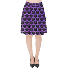 Scales3 Black Marble & Purple Watercolor (r) Velvet High Waist Skirt