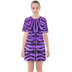 Skin2 Black Marble & Purple Watercolor Sixties Short Sleeve Mini Dress