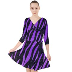 Skin3 Black Marble & Purple Watercolor (r) Quarter Sleeve Front Wrap Dress