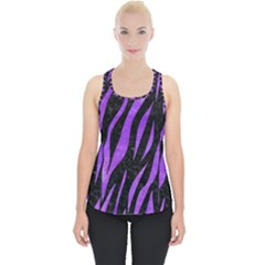 Skin3 Black Marble & Purple Watercolor (r) Piece Up Tank Top