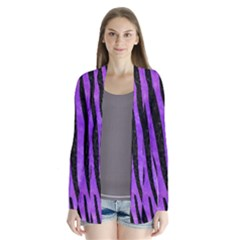 Skin4 Black Marble & Purple Watercolor (r) Drape Collar Cardigan