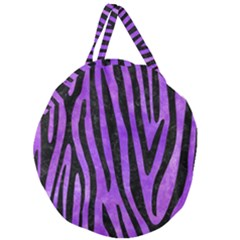 Skin4 Black Marble & Purple Watercolor (r) Giant Round Zipper Tote