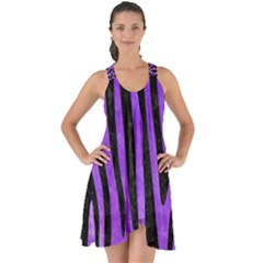 Skin4 Black Marble & Purple Watercolor (r) Show Some Back Chiffon Dress
