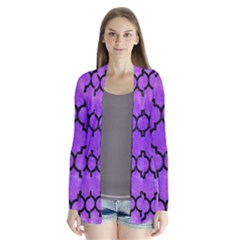 Tile1 Black Marble & Purple Watercolor Drape Collar Cardigan by trendistuff