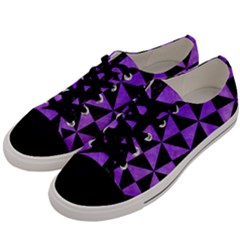 Triangle1 Black Marble & Purple Watercolor Men s Low Top Canvas Sneakers by trendistuff