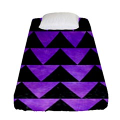 Triangle2 Black Marble & Purple Watercolor Fitted Sheet (single Size) by trendistuff