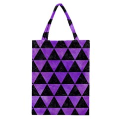 Triangle3 Black Marble & Purple Watercolor Classic Tote Bag by trendistuff