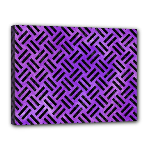 Woven2 Black Marble & Purple Watercolor Canvas 16  X 12  by trendistuff