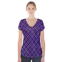 Woven2 Black Marble & Purple Watercolor (r) Short Sleeve Front Detail Top