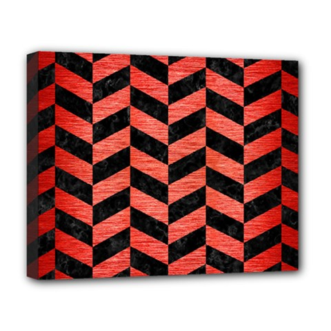 Chevron1 Black Marble & Red Brushed Metal Deluxe Canvas 20  X 16   by trendistuff