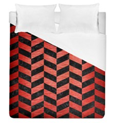 Chevron1 Black Marble & Red Brushed Metal Duvet Cover (queen Size) by trendistuff