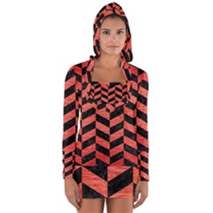 Chevron1 Black Marble & Red Brushed Metal Long Sleeve Hooded T Shirt