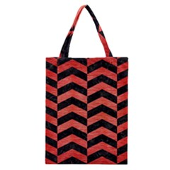 Chevron2 Black Marble & Red Brushed Metal Classic Tote Bag by trendistuff