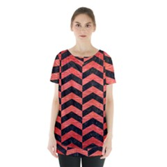 Chevron2 Black Marble & Red Brushed Metal Skirt Hem Sports Top by trendistuff