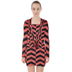Chevron2 Black Marble & Red Brushed Metal V Neck Bodycon Long Sleeve Dress