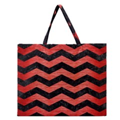 Chevron3 Black Marble & Red Brushed Metal Zipper Large Tote Bag by trendistuff