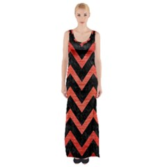 Chevron9 Black Marble & Red Brushed Metal (r) Maxi Thigh Split Dress