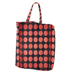 Circles1 Black Marble & Red Brushed Metal (r) Giant Grocery Zipper Tote by trendistuff