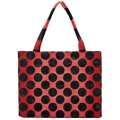 Circles2 Black Marble & Red Brushed Metal Mini Tote Bag by trendistuff