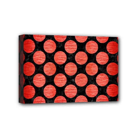 Circles2 Black Marble & Red Brushed Metal (r) Mini Canvas 6  X 4  by trendistuff