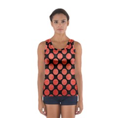 Circles2 Black Marble & Red Brushed Metal (r) Sport Tank Top  by trendistuff