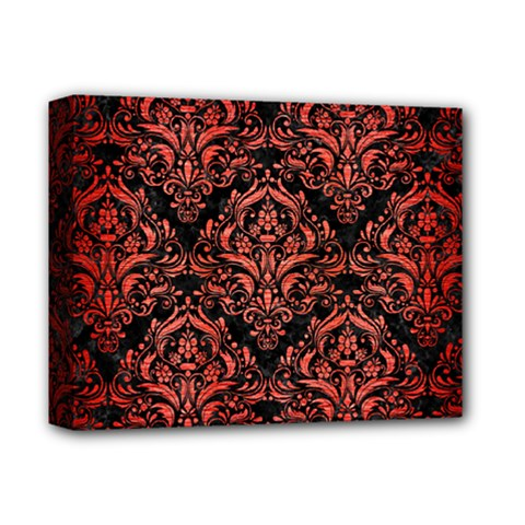 Damask1 Black Marble & Red Brushed Metal (r) Deluxe Canvas 14  X 11  by trendistuff