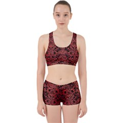Damask2 Black Marble & Red Brushed Metal (r) Work It Out Sports Bra Set