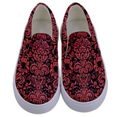 Damask2 Black Marble & Red Brushed Metal (r) Kids  Canvas Slip Ons