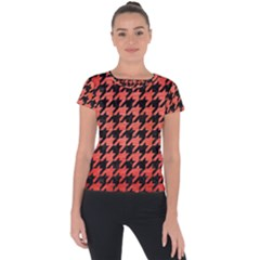 Houndstooth1 Black Marble & Red Brushed Metal Short Sleeve Sports Top