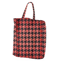 Houndstooth1 Black Marble & Red Brushed Metal Giant Grocery Zipper Tote