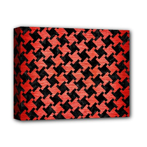 Houndstooth2 Black Marble & Red Brushed Metal Deluxe Canvas 14  X 11  by trendistuff
