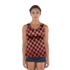 Houndstooth2 Black Marble & Red Brushed Metal Sport Tank Top