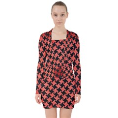 Houndstooth2 Black Marble & Red Brushed Metal V Neck Bodycon Long Sleeve Dress
