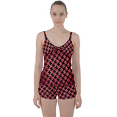 Houndstooth2 Black Marble & Red Brushed Metal Tie Front Two Piece Tankini